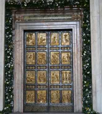 Bronze holy door of St. Peter's Basilica